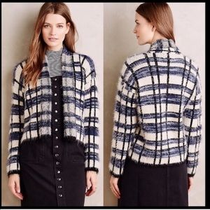 Anthro La Fee Verte Eyelash Knit Plaid Cardigan